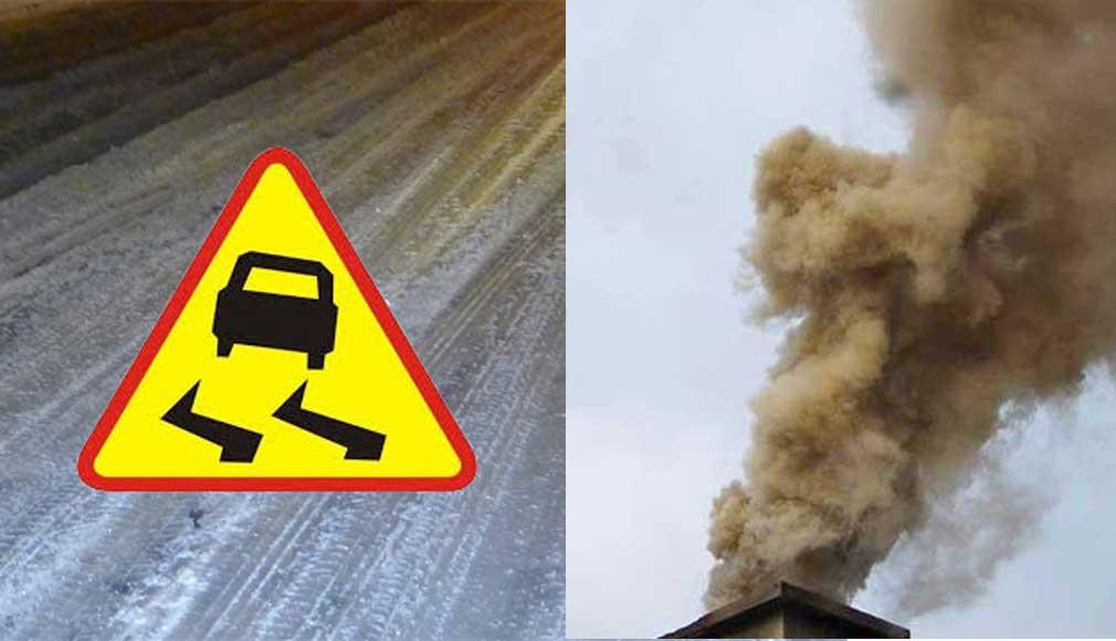 uwaga slisko zanieczysczenie