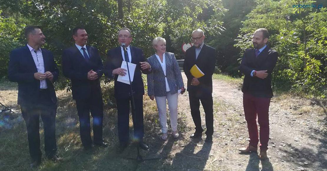 """Symboliczne rozpoczęcie budowy """"małej obwodnicy Obornik""""."""