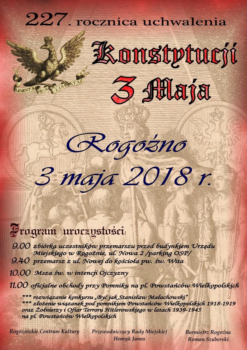 obchody 3 maja w rogoznie plakat
