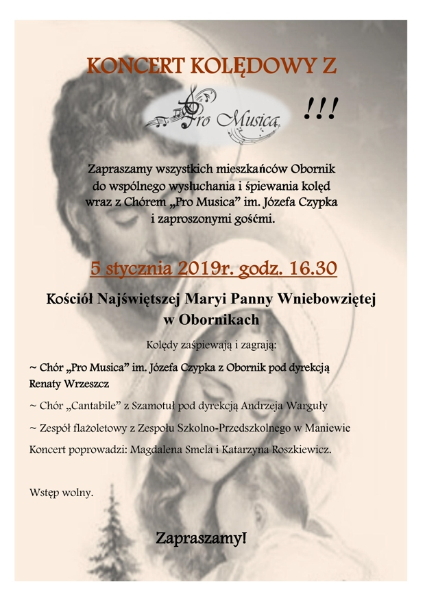 chór pro musica oborniki koncert kolędowy