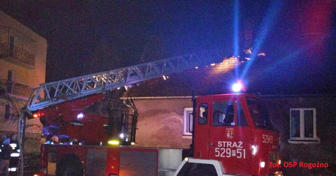 Nocny pożar w Rogoźnie