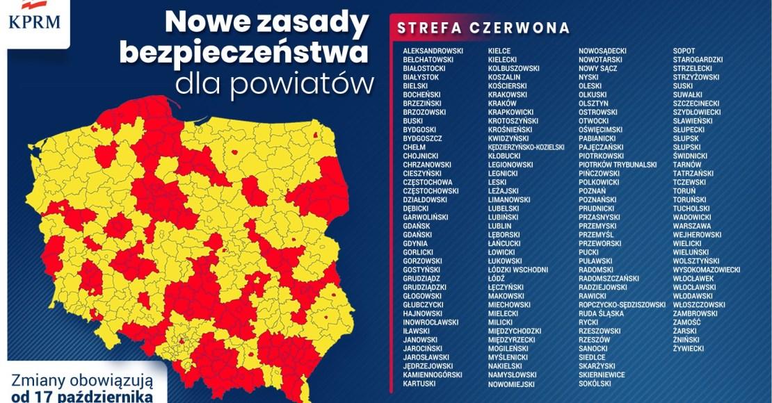 Powiat poznański w czerwonej strefie (strefy)