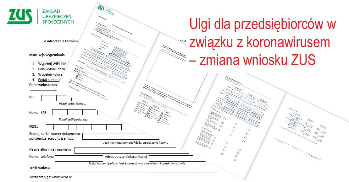 Zmiana formularzu ZUS na odroczenie składek