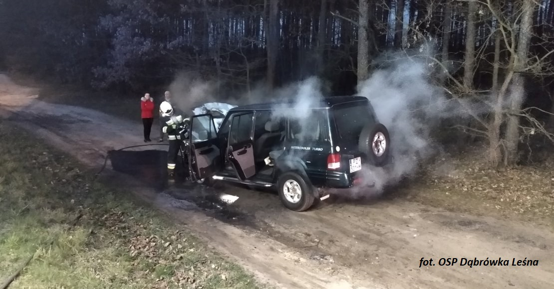 Pożar samochodu na drodze wojewódzkiej